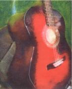 Music Paintings - Red Guitar by John Brisson