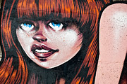 Tribal Art Paintings - Red Hair Blue Eyes Graffiti Girl by Yurix Sardinelly