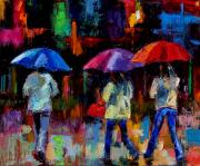 Rainy Street Painting Framed Prints - Red Handbag Framed Print by Debra Hurd