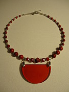 Glass Necklace Jewelry Posters - Red Happiness  Poster by Jenna Green