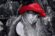 Mariola Prints - Red Hat and a Blonde Black and White Print by Mariola Bitner