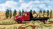 Hay Bales Pastels Framed Prints - Red Hay Truck Framed Print by Jan Amiss