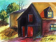 Jmwportfolio Drawings - Red Hayloft Door by John  Williams