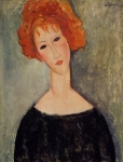 Black Women Framed Prints - Red Head Framed Print by Amedeo Modigliani