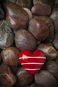 Loves Framed Prints - Red heart among stones Framed Print by Garry Gay