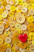 Sewn Framed Prints - Red heart and yellow buttons Framed Print by Garry Gay