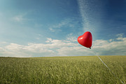 Red Heart Balloon, Blue Sky And Fields Print by Image by Debbie Margetts - Ancora Imparo
