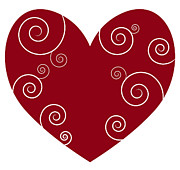 Swirly Prints - Red Heart Print by Frank Tschakert