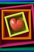 Squares Prints - Red Heart In Box Print by Garry Gay