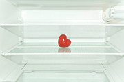 Difficulties Love Posters - Red Heart In Refrigerator Poster by Stock4b-rf