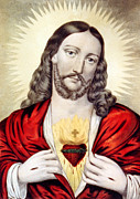 Jesus Digital Art Prints - Red Heart Print by Munir Alawi