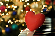 Heart Shape Prints - Red Heart On Piano, Sandusky Print by Ray Sandusky / Brentwood, TN