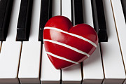Piano Keys Prints - Red heart with stripes Print by Garry Gay