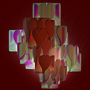 Abstract Hearts Digital Art - Red hearts by Deborah Benoit