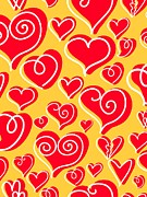 Colored Background Art - Red Hearts On Yellow Background by Lana Sundman