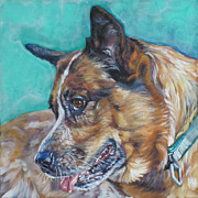 Heeler Paintings - Red Heeler Australian Cattle Dog by Lee Ann Shepard