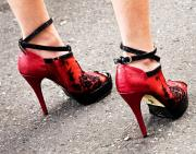 Straps Prints - Red Heels Print by Marion McCristall