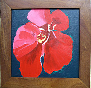 Pinks Posters - Red Hibiscus on Green Poster by Karen Nicholson