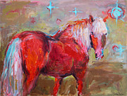 Impressionistic Drawings Framed Prints - Red horse contemporary painting Framed Print by Svetlana Novikova