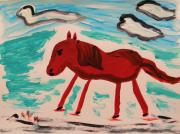Jazzy Drawings - Red Horse Running by Mary Carol Williams