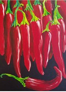 Hot Peppers Painting Originals - Red Hot Chillie Peppers by Carol McLagan