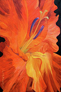 Gladiolus Paintings - Red-hot Flower by Judith Barath