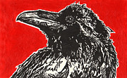 Linoprint Framed Prints - Red Hot Raven Framed Print by Julia Forsyth