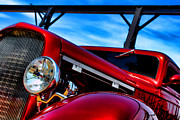 Headlight Photo Metal Prints - Red Hot Rod Metal Print by Olivier Le Queinec