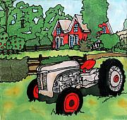 Linda Marcille Posters - Red House and Tractor Poster by Linda Marcille