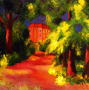 Macke Framed Prints - Red House in the park Framed Print by Stefan Kuhn