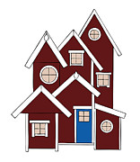 Property Drawings Prints - Red Houses Print by Frank Tschakert