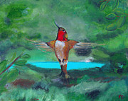 Flying Bird Paintings - Red Hummingbird by Jamie Hartley