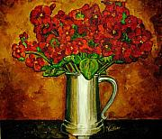 Pewter Paintings - Red Hydrangeas by Vickie Warner