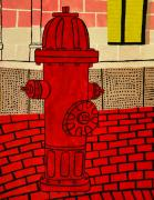 Cusack Posters - Red Hydrant Poster by Sean Cusack