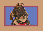 Brindle Digital Art Prints - Red II Print by Kris Hackleman