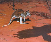 Kangaroo Paintings - Red II by Michael Oberhofer