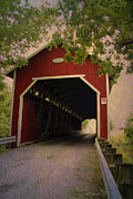 Covered Bridge Mixed Media Prints - Red In Canada Print by Deborah Benoit