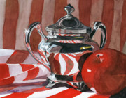 Apple Painting Originals - Red in Silver by Lynne Reichhart