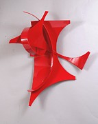 Bright Sculpture Posters - Red Incident Poster by Mac Worthington