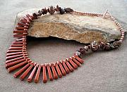 Autumn Jewelry - Red Jasper and Copper Necklace by Donna Smith