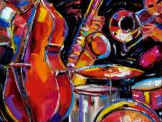Drums Posters - Red Jazz Poster by Debra Hurd