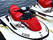 Skiing Art Cards Prints - Red Jet Ski Print by Sheila Kay McIntyre