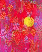 Passion Paintings - Red Jungle Passionate Sun by Jennifer Baird