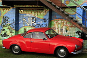 Graffiti Steps Prints - Red Karmann Ghia Print by Noel Elliot