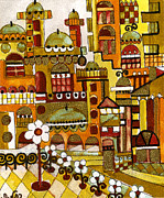 Flower Paintings - Red Kasba skyline landscape art of old town dome and minarett decorated with flower arch in orange by Rachel Hershkovitz