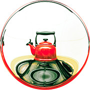 Appliance Photos - Red kettle by Tom Gowanlock