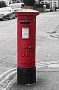 Pillar Box Prints - Red King George V Postbox Print by Steve Purnell
