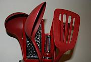 Ladles Prints - Red Kitchen Utencils Print by Rob Hans