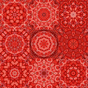 Quilts Digital Art - Red Lace Quilt by Tracy Pierceall