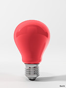 Ligth Bulb Digital Art Prints - Red Lamp Print by BaloOm Studios